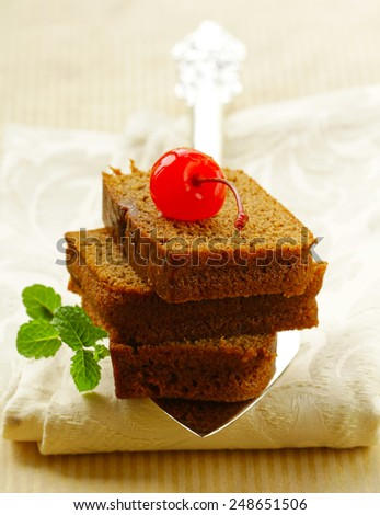 pieces delicious homemade chocolate brownie cake - stock photo
