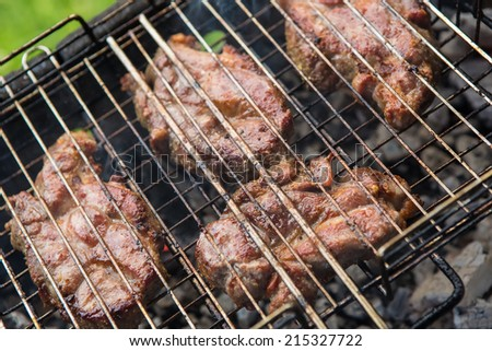 pieces meat char-grilled over flame. food background vegetables char-grilled over flame
