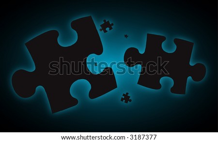 Pieces of a jigsaw falling into the blue distance