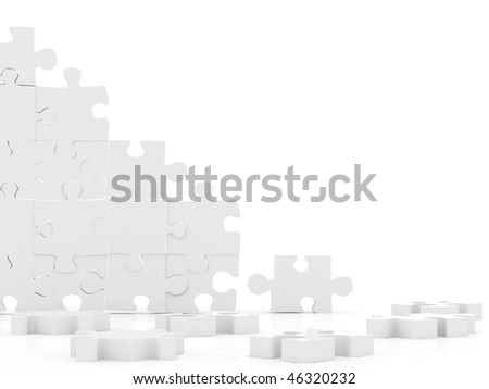 Pieces of a puzzle in 3D isolated over a white background