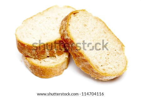 pieces of bread loaf isolated on white background