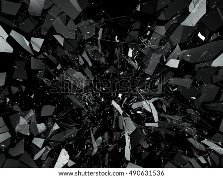 Pieces of Broken or Shattered glass on black. 3d rendering 3d illustration
