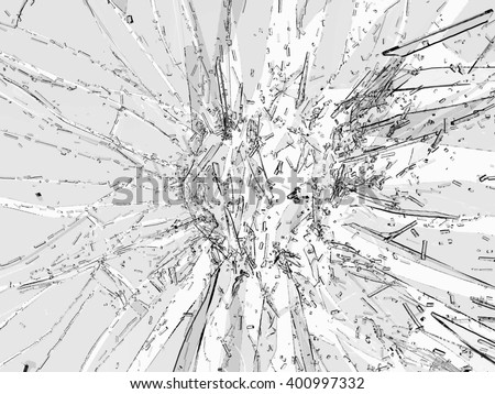 Pieces of broken or Shattered glass on white - stock photo
