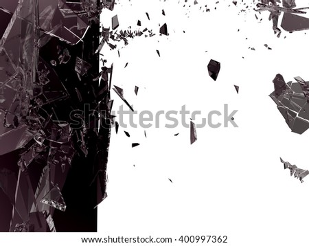 Pieces of Broken Shattered black glass isolated on white - stock photo