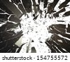 Pieces of Broken Shattered black glass isolated on white. Large resolution - stock