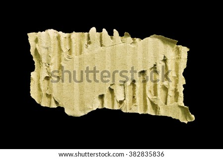 Pieces of cardboard isolated on black background with clipping path - stock photo