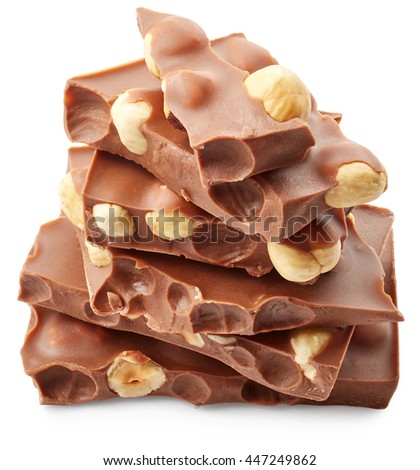 Pieces of chocolate isolated on white background - stock photo