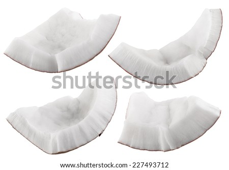 Pieces of coconut isolated on a white background. Clipping Path - stock photo