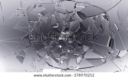 Pieces of cracked glass on black.  - stock photo