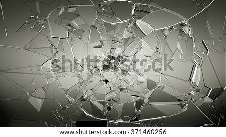 Pieces of cracked glass on white. Large resolution