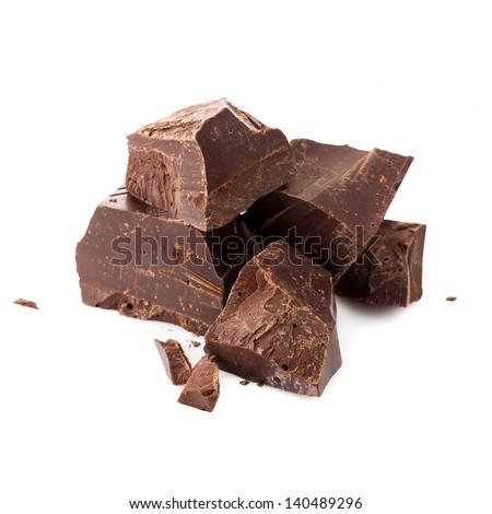 Pieces of dark chocolate - stock photo