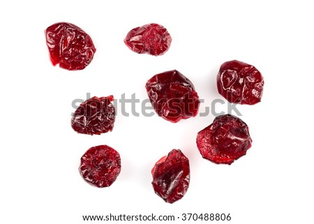 Pieces of dried cranberries isolated on white background - stock photo
