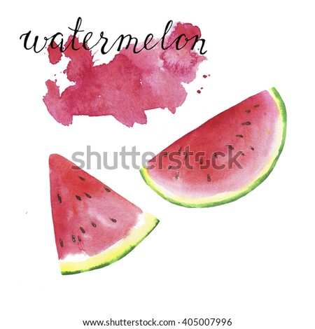 Pieces of fresh watermelon and hand letters watermelon on white background with abstract pink brushstroke. Hand drawn watercolor illustration. - stock photo