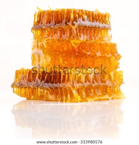 Pieces of Honeycomb on White Background
