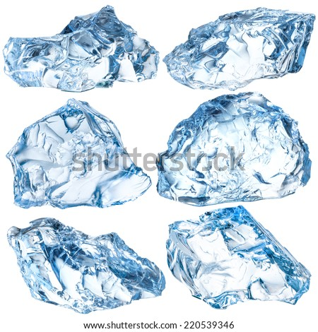 Pieces of ice isolated on white background. With clipping path - stock photo
