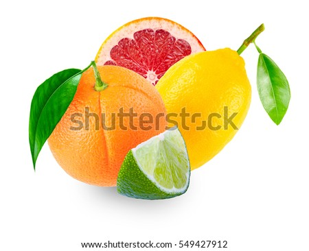Pieces of lime, grapefruit and orange land lemon with leaves isolated on white background