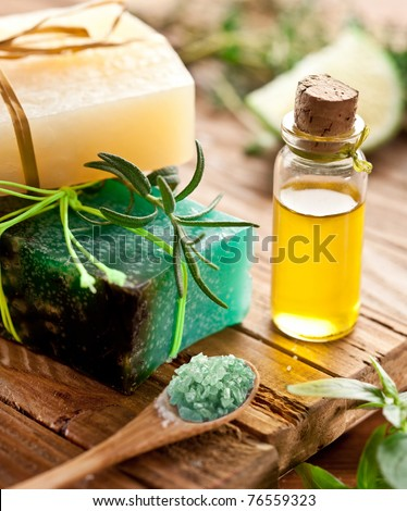 Pieces of natural soap with rosemary,oil and marine salt.