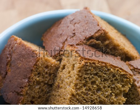 Pieces of Parkin in a bowl - stock photo