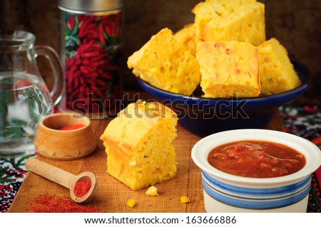 Pieces of Pumpkin and Cornmeal Bread with Corn Kernels