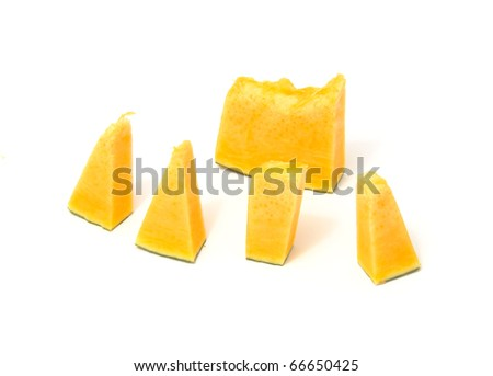 Pieces of Pumpkin Isolated on White Background - stock photo