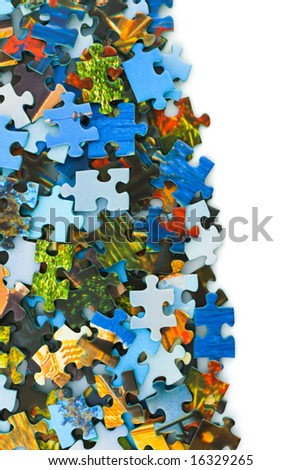 Pieces of puzzle isolated on white background - stock photo