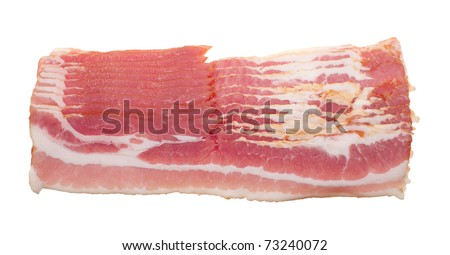 pieces of raw bacon isolated on a white background - stock photo