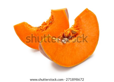 Pieces of ripe pumpkin. Isolated on white background. - stock photo