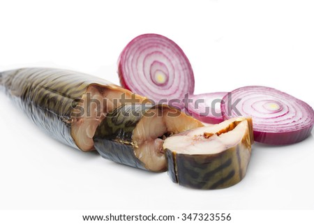 Pieces of smoked mackerel and red onion on white background - stock photo