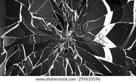 Pieces of splitted or cracked glass on white. Large resolution - stock photo