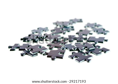 Pieces of textured puzzle, isolated on white background - stock photo