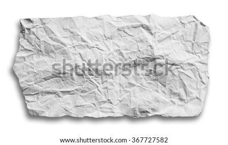 Pieces of torn paper on white background. Copy space with clipping path