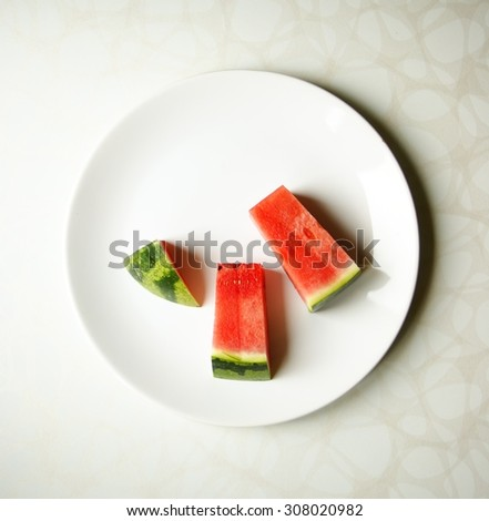 Pieces of watermelon.