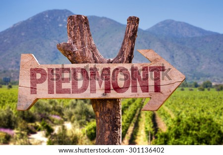 Piedmont wooden sign with winery background - stock photo
