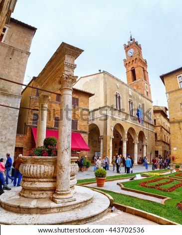 PIENZA, ITALY - MAY 4, 2016: Old town of Pienza, Tuscany, Italy. Historic Cathedral in the city center on Plaza de Pio II.