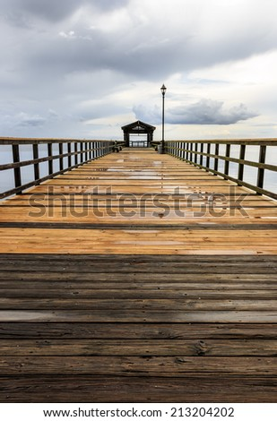 Pier and dock after rain storm