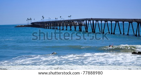 pier and waves - stock photo