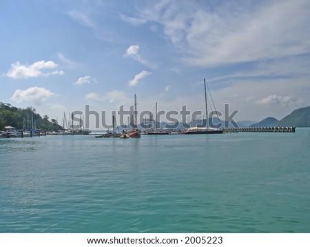 Pier at Langkawi island (Malaysia) - stock photo