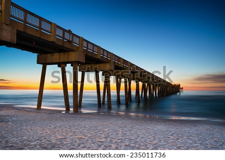 Pier at Panama City Beach, Florida, at sunset - stock photo