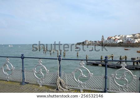 Pier at Swanage on Dorset coast - stock photo