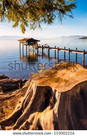 Pier in a lake, Lake Tahoe, Sierra Nevada, California, USA - stock photo