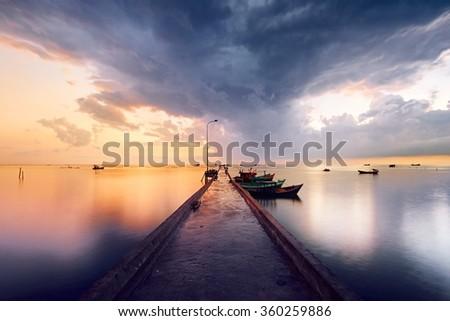 Pier in fishing village - Phu Quoc island, Vietnam - stock photo