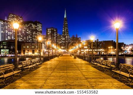 Pier 7 in San Francisco at night. - stock photo
