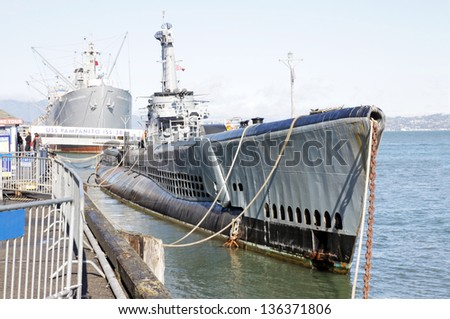 Pier 39 in San Francisco with USS Pampanito submarine - stock photo