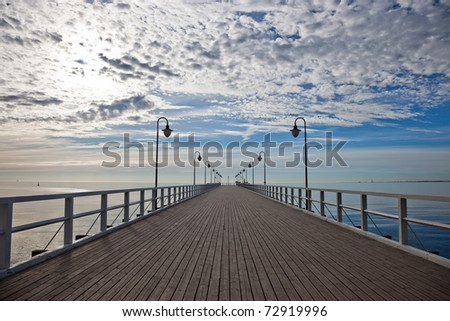 Pier in the morning. Orlowo, Poland. - stock photo