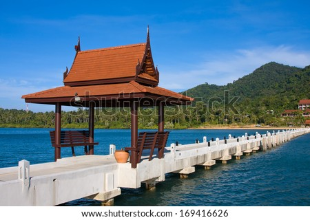 Pier in tropical paradise , Koh Chang island , Thailand - stock photo