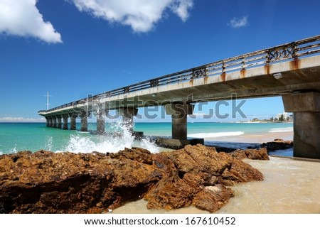 Pier on a summer day at the sea side in Port Elizabeth South Africa - stock photo