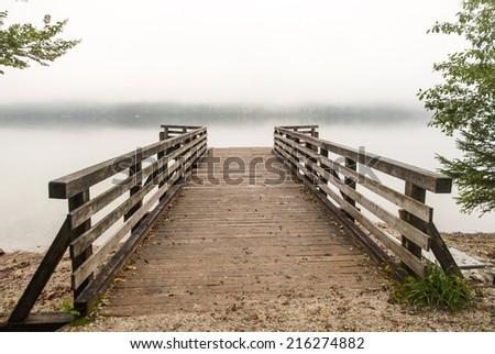 Pier on Bohinj lake, Slovenia - stock photo