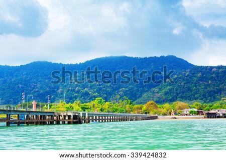 pier on Koh Lanta Island, Krabi, Thailand - stock photo