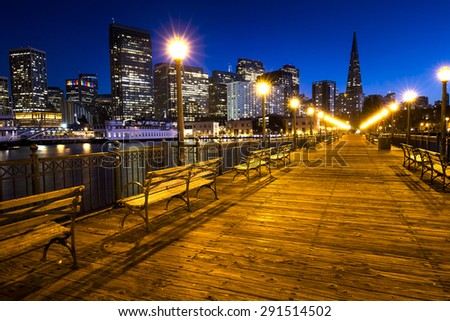 Pier 7 panorama in San Francisco at night. - stock photo