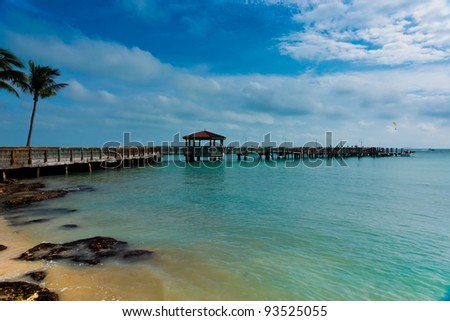 pier stretching out from Key West - stock photo